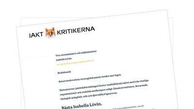 Brev till vice statsminister och miljöminister Isabella Lövin – Uppdatering – Nu med brevsvar från Isabella Lövin – se länk längst ner på sidan.